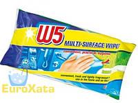 Влажные салфетки для уборки W5 Multi-Surface Wipes Lemon, 80шт.