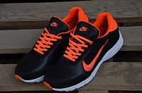 Мужские кожаные кроссовки Nike 12004 черные