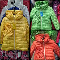 Куртка для девочки удлиненная с бантиком в расцветке