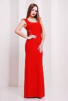Женское красное платье  в пол без рукав