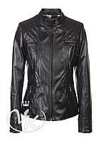 Черная кожаная куртка на молнии женская, фото 1
