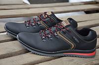 Мужские кожаные кроссовки Ecco 12005 черные