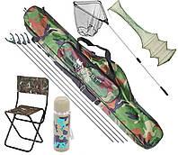 Рыболовный набор 6в1 чехол, подсак, стул