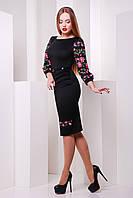 Женское платье длинный рукав по колено с рисунком цветов