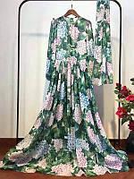 Платье длинное   с гортензией