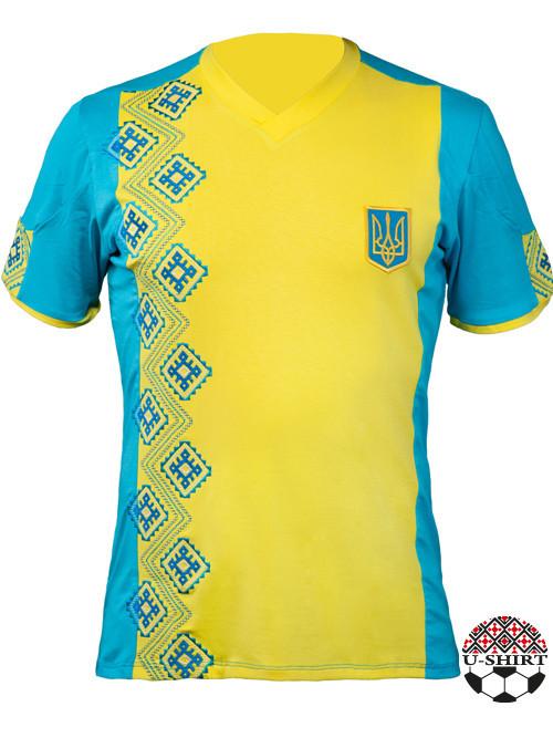 Футболка с вышивкой Украина желто голубого цвета и вышитым тризубом -  TopTen в Львове 28e4c236fe6ae