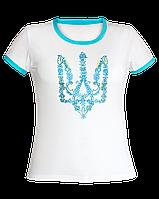 Футболка женская с вышивкой белого цвета. Вышитый Тризуб 927d52bfa105b