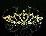 Диадема корона с гребешками, золотистая, высота 3,5 см