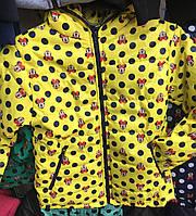 Детская куртка ветровка  оптом на 6-10 лет Микки желтая