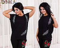 Женская однотонная футболка принт перо черная