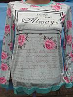 Блузка-туника для девочки c розочками от 9 до 13 лет