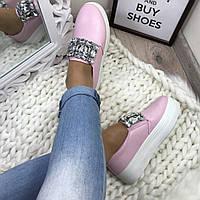 Слипоны на платформе розовые, слипоны женские розовые