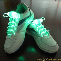 Светящиеся шнурки для обуви (зелёные, LED) + батарейки CR2032 в подарок