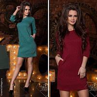 Модное женское платье мини с карманами / Украина / жаккард