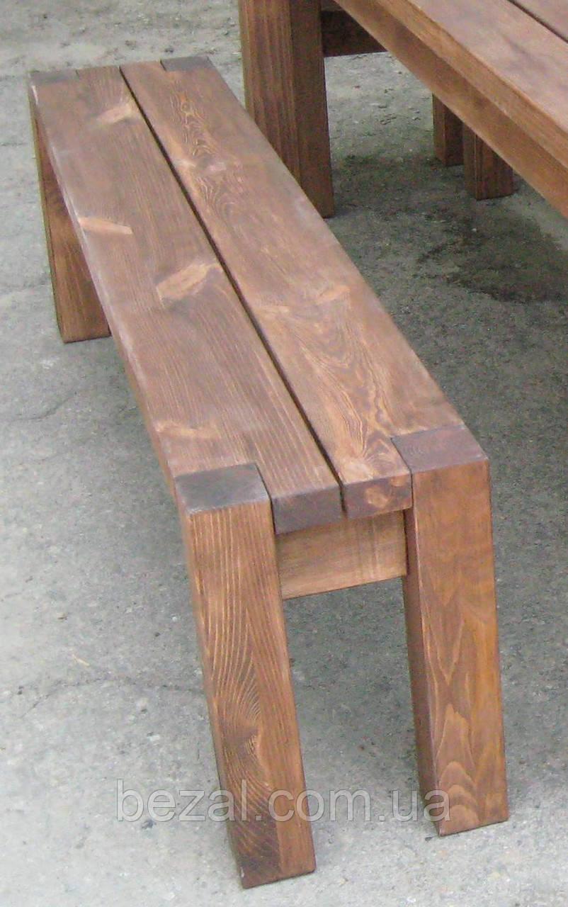 Скамья без спинки 2м. Мебель садовая из натурального дерева  Альфа