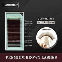 Коричневые ресницы NAGARAKU Mix