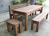 Скамья без спинки 2м. Мебель садовая из натурального дерева  Альфа, фото 2