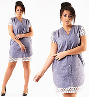 Красивое модное короткое летнее льняное платье с кружевом бьльшого размера