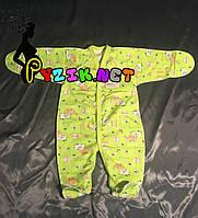 Человечек для новорожденного футер (хлопок 100%) 56-62 р-р, цвет на выбор Салатовый