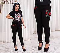 Черные джинсы с вышивкой больших размеров