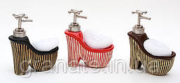 Дозатор для жидкого мыла с губкой Туфель 16 см, 3 вида