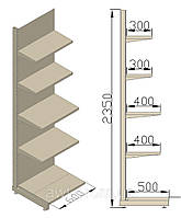 Стеллаж пристенный 600х580х2350 (приставная секция). Стеллаж для продуктов.