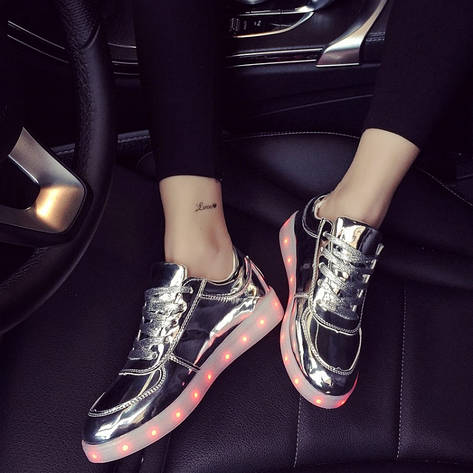 Взрослые светящиеся кроссовки LED низкие серебро, фото 2