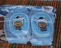 Наколенники с мягкой овальной вставкой Сеточка - Мишка  Голубой