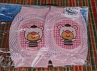 Наколенники с мягкой овальной вставкой Сеточка - Мишка  Розовый