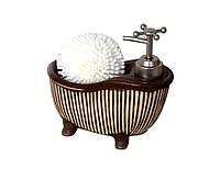 """Дозатор """"Ванночка"""" для жидкого мыла с губкой 16,5 см, 4 вида"""