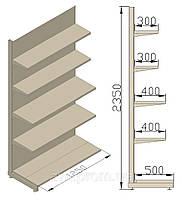 Стеллаж пристенный 1250х580х2350 (приставная секция). Продуктовые стеллажи.
