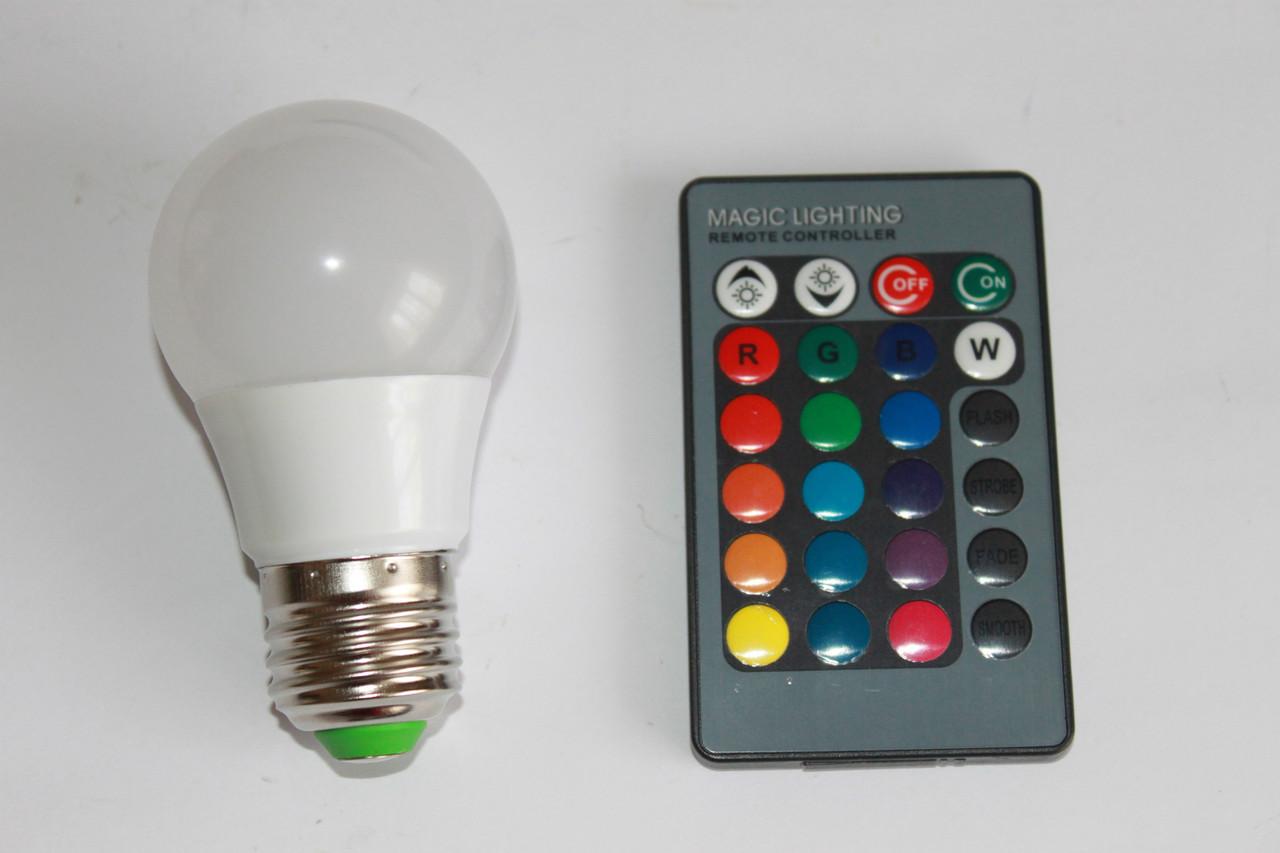 Лампа RGB LED 3W E27 (Цветная)