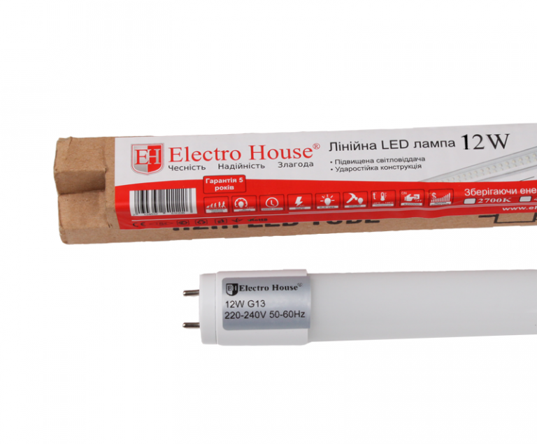 Лампа светодиодная LED Т8 12W 600мм 1200 Lm G13 6500K ElectroHouse