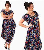 Красивое модное ассиметричное длинное темно-синее в цветочек летнее платье большого размера 2017