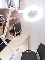 Увеличительная лупа с LED подсветкой, на струбцине