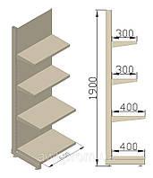 Стеллаж универсальный пристенный 600х480х1900 (приставная секция). Полки для магазина.