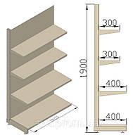 Стеллаж универсальный пристенный 1000х480х1900 (приставная секция). Полки для продуктовых магазинов.