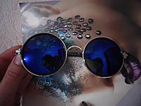 Круглые солнцезащитные очки синие