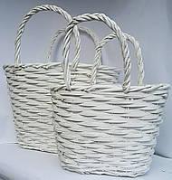 Набор плетеных корзин белые 2шт