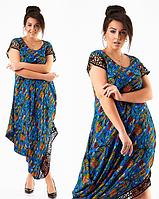 Красивое модное ассиметричное длинное синее в цветочек летнее платье большого размера 2017