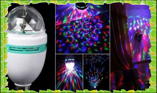 Светодиодная Дисколампа LED вращающаяся+переходник