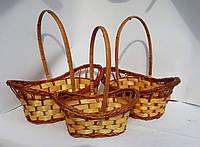 Набор из 3х плетеных корзин волна