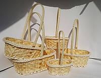 Набор плетеных корзин желтые овал 5шт