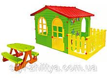 Великий ігровий будиночок з огорожою + стіл зі стільцями
