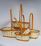 Набор плетеных корзин бело-коричневые овал 5шт