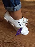 ОСЕНЬ/ВЕСНА Женские мокасины на шнурках Белые, фото 1