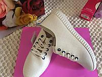 ЕКО кожа Весна 2017 г Женские мокасины на шнурках Белые