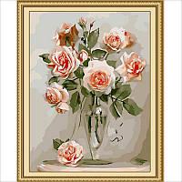 """Картина раскраска по номерам без коробки Идейка """"Кораловые розы худ Бузин Игорь""""  40 х 50 см"""
