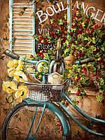 "Картина раскраска по номерам без коробки Идейка ""Французский велосипед""  40 х 50 см"