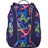 Рюкзак школьный для девочки каркасный (ранец) 703 Neon butterfly K17-703M-1 Kite